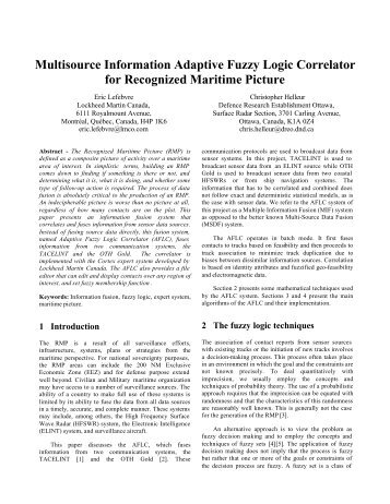 Multisource Information Adaptive Fuzzy Logic Correlator for ... - ISIF