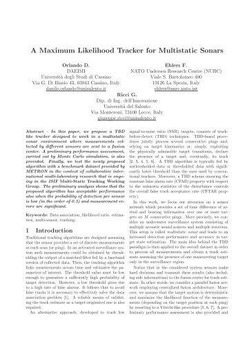 A Maximum Likelihood Tracker for Multistatic Sonars - ISIF