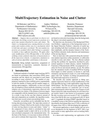 MultiTrajectory Estimation in Noise and Clutter - ISIF