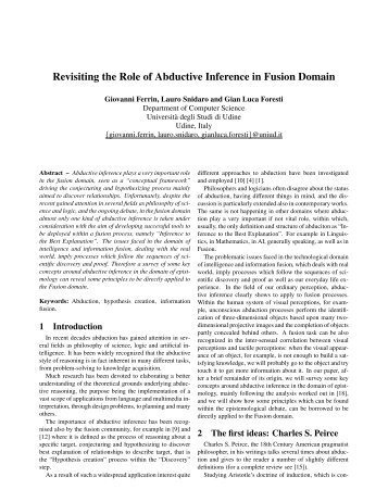 Revisiting the Role of Abductive Inference in Fusion Domain - ISIF