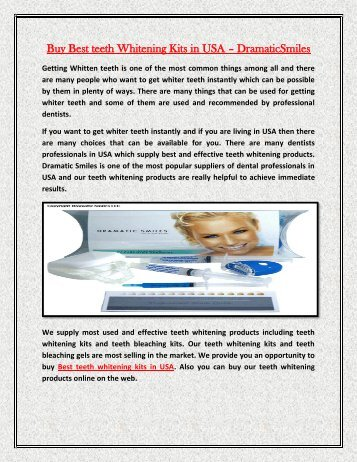 Buy Best teeth Whitening Kits in USA – DramaticSmiles