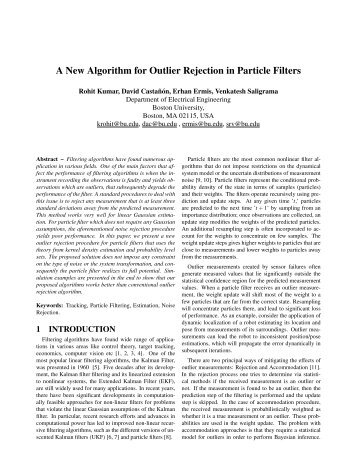 A New Algorithm for Outlier Rejection in Particle Filters - ISIF