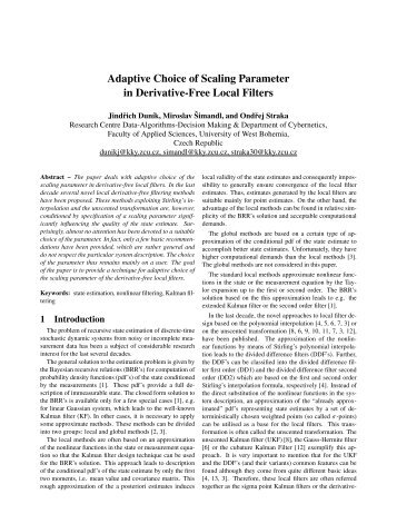 Adaptive Choice of Scaling Parameter in Derivative-Free Local ... - ISIF