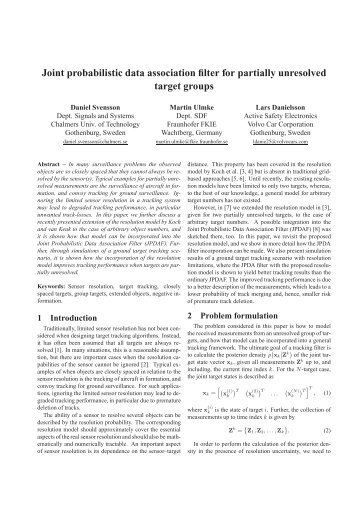 Joint probabilistic data association filter for partially unresolved ... - ISIF