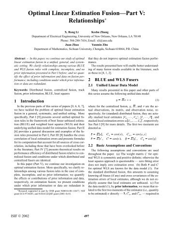 Optimal Linear Estimation Fusion—Part V: Relationships - ISIF
