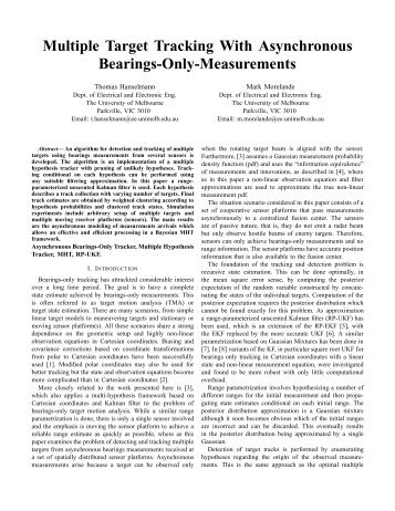 Multiple Target Tracking With Asynchronous Bearings-Only ... - ISIF