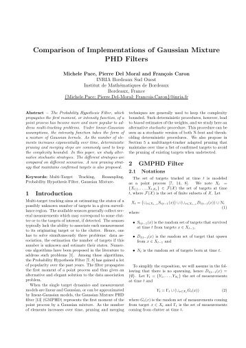 Comparison of Implementations of Gaussian Mixture PHD Filters - ISIF