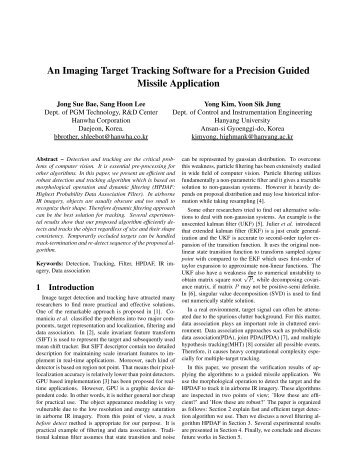An Imaging Target Tracking Software for a Precision Guided ... - ISIF