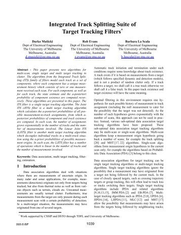 Integrated Track Splitting Suite of Target Tracking Filters. - ISIF
