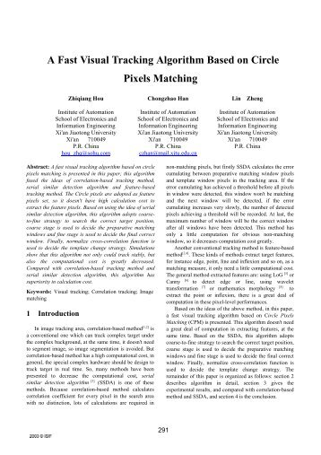 A Fast Visual Tracking Algorithm Based on Circle Pixels ... - ISIF