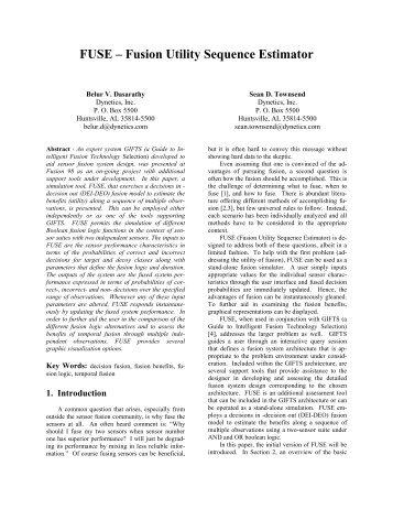 FUSE – Fusion Utility Sequence Estimator - ISIF