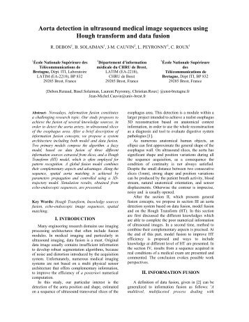 Aorta detection in ultrasound medical image sequences using ... - ISIF