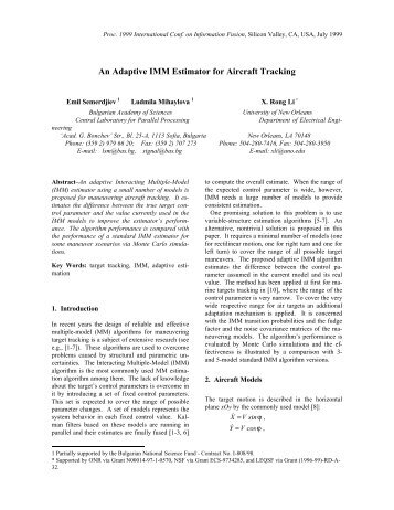 An Adaptive IMM Estimator for Aircraft Tracking - ISIF