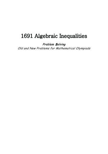 1691 Algebraic Inequalities - Index of