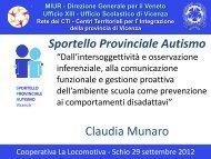 Presentazione di Munaro Claudia - Sportello Provinciale Autismo