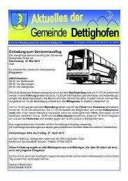 Einladung zum Seniorenausflug - Gemeinde Dettighofen