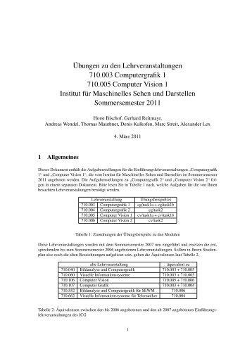 Übungen zu den Lehrveranstaltungen 710.003 Computergrafik 1 ...