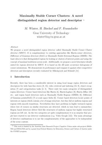 Maximally Stable Corner Clusters - Graz University of Technology