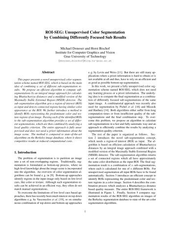 Unsupervised Color Segmentation - Institute for Computer Graphics ...