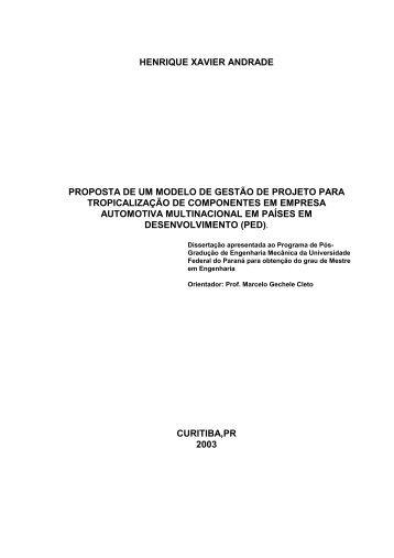 Proposta de um modelo de gestão de projetos para tropicalização ...