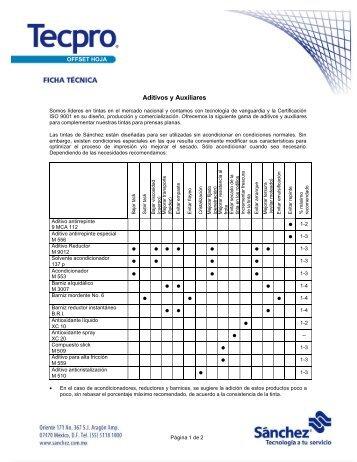 Fichas tecnicas aditivos y auxiliares - Proveedora de las artes graficas