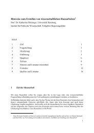 Hinweise zum Erstellen von wissenschaftlichen Hausarbeiten