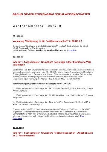 W i n t e r s e m e s t e r   2 0 0 8 / 0 9 - Universität Hamburg