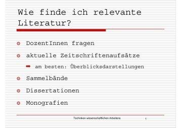 Wie finde ich relevante Literatur?