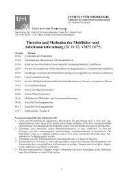 Theorien und Methoden der Mobilitäts- und Arbeitsmarktforschung ...