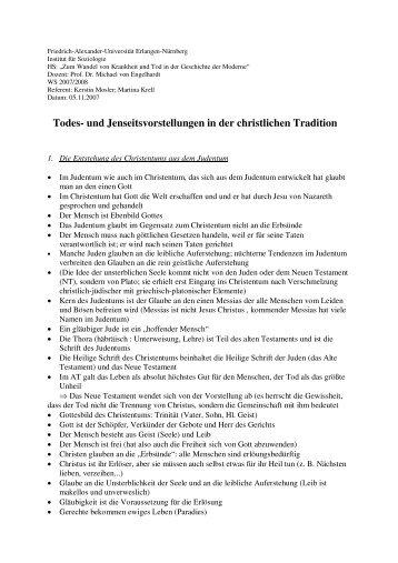 und Jenseitsvorstellungen in der christlichen Tradition - Institut für ...