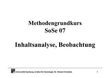 Inhaltsanalyse, Beobachtung - Universität Hamburg