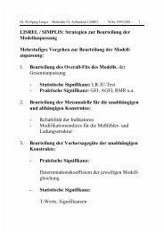 LISREL / SIMPLIS: Strategien zur Beurteilung der Modellanpassung ...