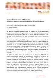 Stellungnahme der DGS zum CHE-Ranking (Langfassung)