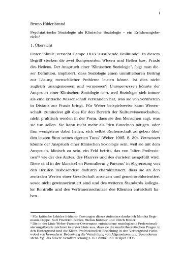 Psychiatrische Soziologie als Klinische Soziologie - Institut für ...