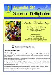 Frohe Osterfeiertage - Gemeinde Dettighofen