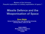 Missile Defence and the Weaponisation of Space - Space-Library