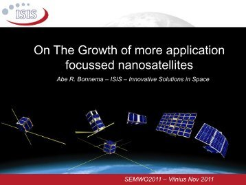 On the Growth of More Application Focussed Nano-satellites