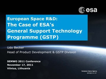 The Case of ESA's General Support Technology Programme (GSTP)