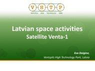 Latvian Space Activities. Venta-1 Satellite