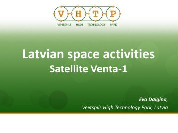 Latvian Space Activities. Venta-1 Satellite