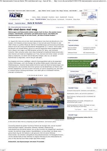 50. Internationaler Caravan Salon: Wir sind dann ... - Space Camper