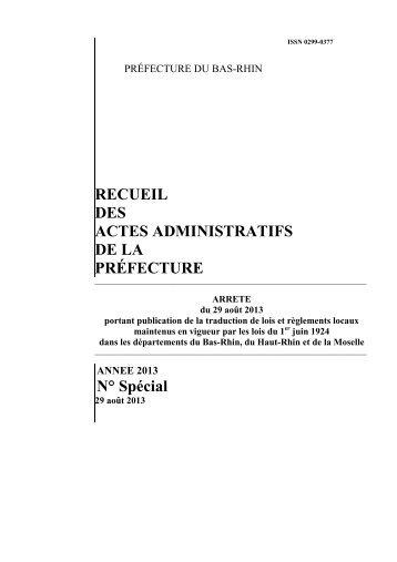 Recueil spécial DROIT LOCAL du 29 août 2013 - publication traduction lois et règlements locaux maintenus en vigueur par les lois du 1er juin 1924