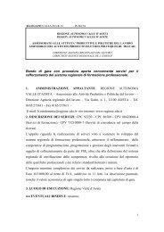 Bando di gara con procedura aperta concernente servizi per il ...