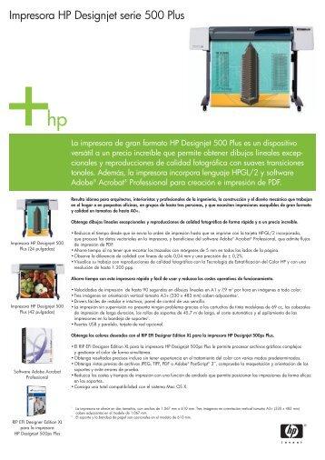 Impresora HP Designjet serie 500 Plus - Arqui.com