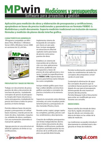 Folleto MPwin Mediciones y presupuestos - Arqui.com