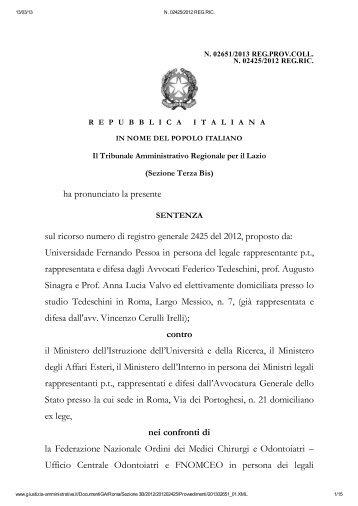 SENTENZA del TAR Lazio del 13 marzo 2013 - Collegio dei Docenti ...