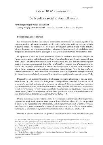 De la política social al desarrollo social - Portal Margen de Trabajo ...