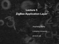 Lecture 5 ZigBee Application Layer - Linköping University