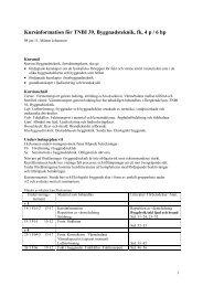 Kursinformation för TNBI 39, Byggnadsteknik, fk, 4 p / 6 hp
