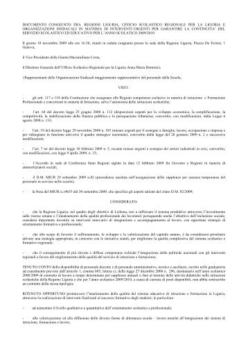 Accordo MIUR - Regione Liguria - Info-Scuole